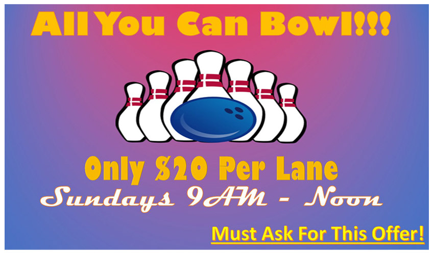 All You Can Bowl at Princess Lanes Advertisement