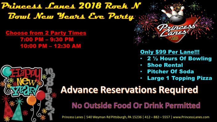 2018 Rock N Bowl New Years Eve Party at Princess Lanes