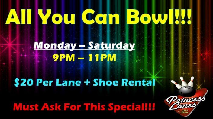 All You Can Bowl at Princess Lanes
