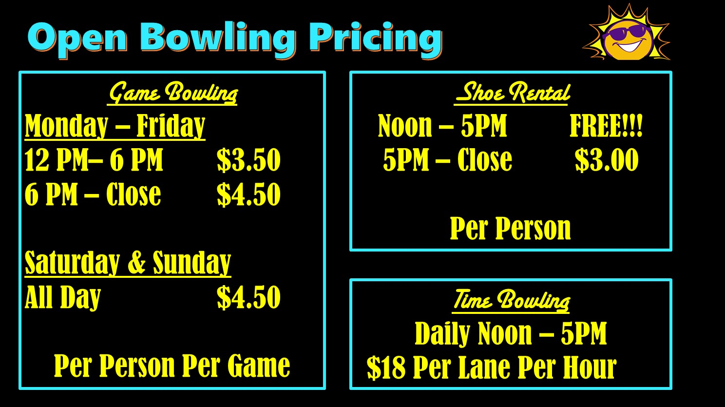 Open Bowling Prices Summer 2019 at Princess Lanes Bowling Center
