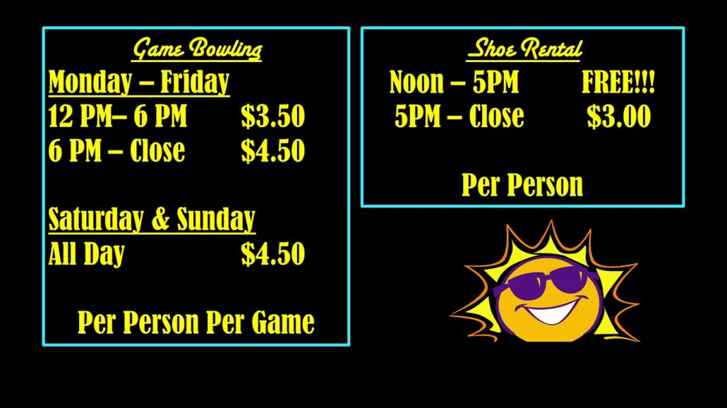 Summer Prices at Princess Lanes