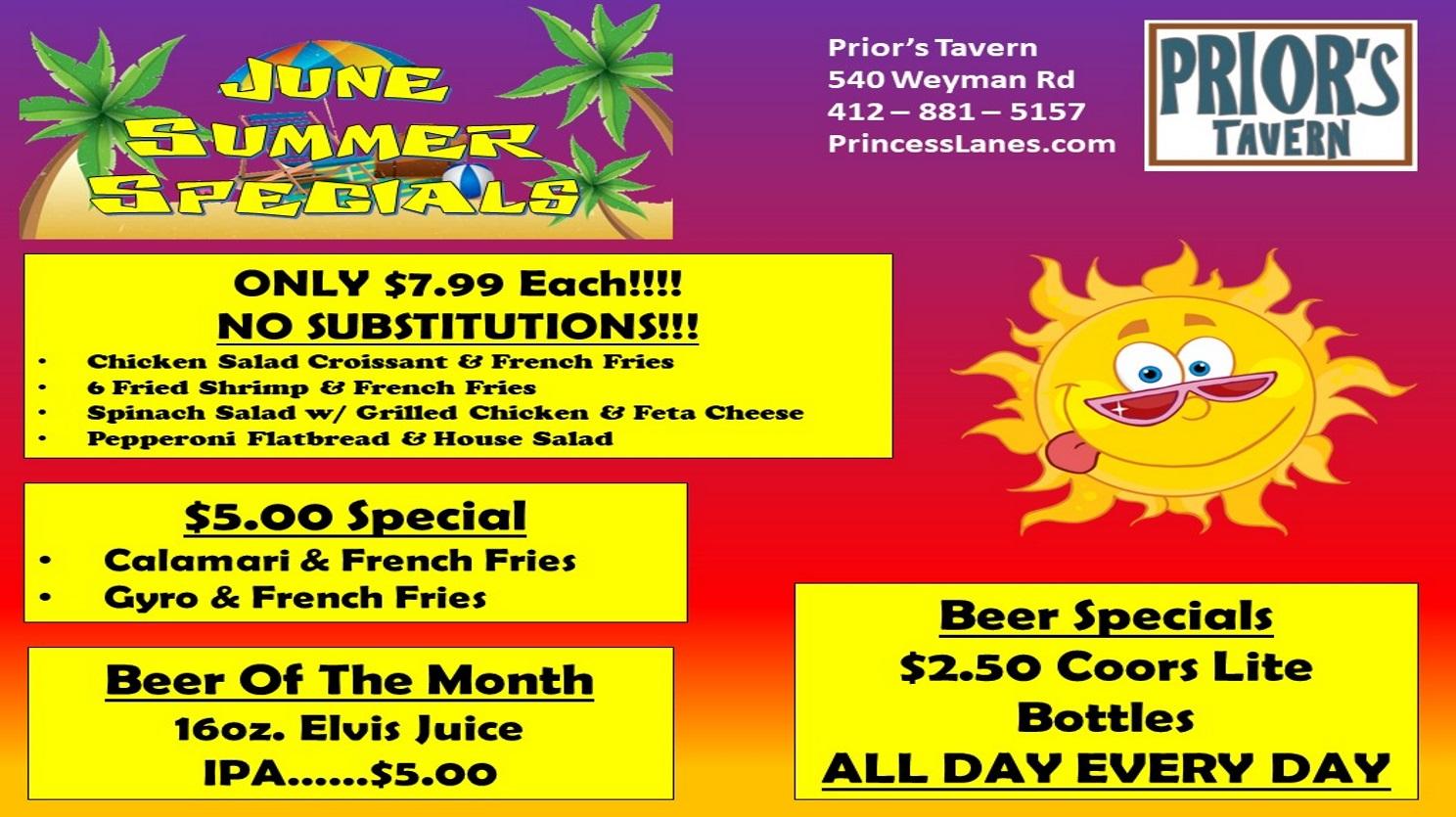 June Summer Specials at Prior's Tavern 2019