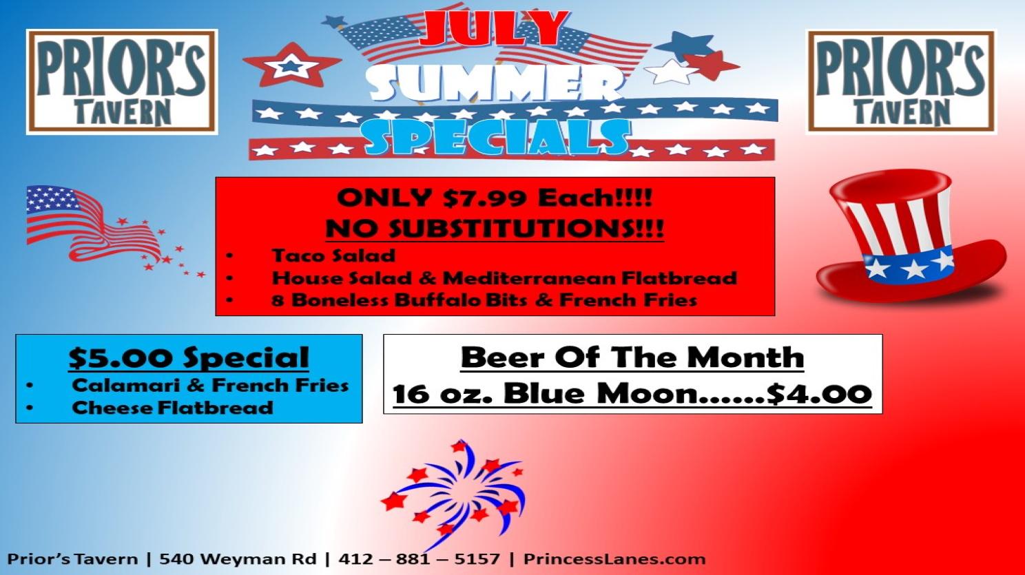 July Summer Special at Prior's Tavern