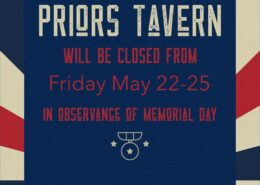 Prior's Tavern Closed for Memorial Day Weekend